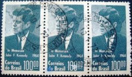 Tira de selos postais do Brasil de 1964 J. F. Kennedy