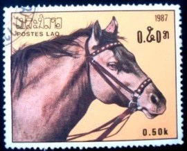 Selo postal do LAOS de 1987 Horse