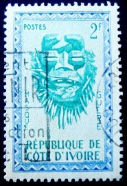 Selo postal da Costa do Marfim de 1960 Guere Mask