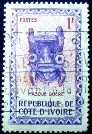 Selo postal da Costa do Marfim de 1960 Guéré Mask