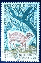 Selo postal da Costa do Marfim de 1964 Water Chevrotain