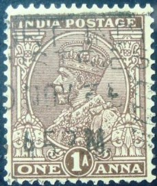 Selo postal da Índia de 1922 King George V with Indian emperor's crown 1