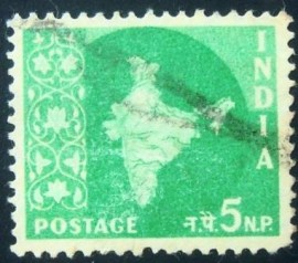 Selo postal da Índia de 1958 Map of India 5 NP