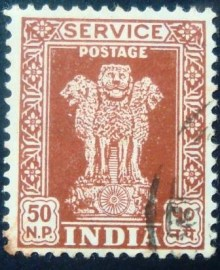 Selo postal da Índia de 1957 Capital of Asoka Pillar 50