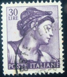 Selo postal da Itália de 1961 Head of the Sibyl Eritrea