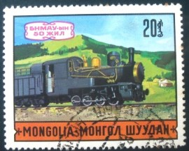 Selo postal da Mongólia de 1971 Steam Locomotive