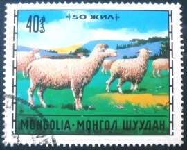 Selo postal da Mongólia de 1971 Domestic Sheep
