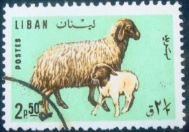 Selo postal do Líbano de 1965 Sheep with Lamb