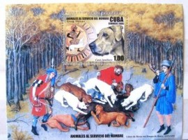 bloco postal Cuba 2006 Animals Serving Man