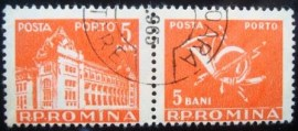 Se-tenant da Romênia de 1957 General Post Office and Post Horn 5