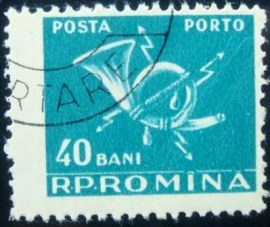 Selo postal da Romênia de 1957 Post horn with lightninge 40