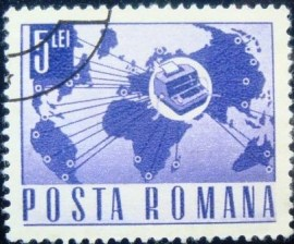 Selo postal da Romênia de 1968 World Map with Telex 5L