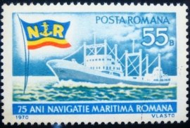 Selo postal da Romênia de 1970 75 Years Of Maritime Navigation