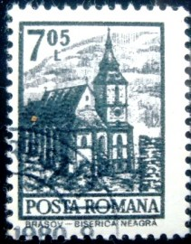 Selo postal da Romênia de 1972 Brasov Black Church