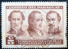 Selo postal do Paraguai de 1961 The 150th Anniversary of Independence