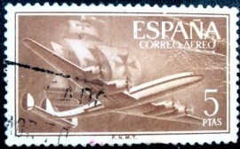 Selo postal da Espanha de 1955 Superconstellation and ship Santa Maria 5
