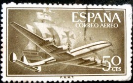 Selo postal da Espanha de 1956 Superconstellation and ship Santa Maria 50