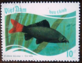 Selo postal Vietna 1988 Red-tailed Black Shark