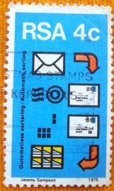 Selo postal comemoraivo Africa do sul 1975 Automatic mail sorting