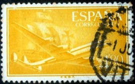 Selo postal da Espanha de 1955 Superconstellation and ship Santa Maria 4,80