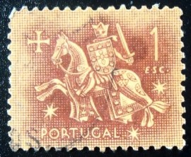 Selo postal de Portugal de 1953 Knight on horseback 1$