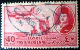 Selo postal do Egito de 1947 Aircraft DC-3 & King Farouk 40