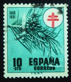 Selo postal da Espanha de 1950 Candle and pine needles