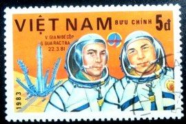 Selo postal do Vietnam de 1983 V. Dzhanibekov and Gurragcha