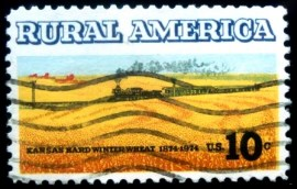Selo postal dos Estados Unidos de 1974 Wheat Fields and Train