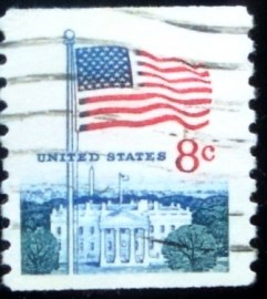 Selo postal dos Estados Unidos de 1971 Flag and White House