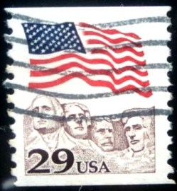 Selo postal dos Estados Unidos de 1991 Flag Over Mt. Rushmore I