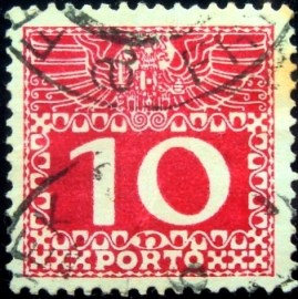 Selo postal da Áustria de 1908 Imperial coat of arms & digit 10