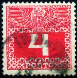 Selo postal da Áustria de 1908 Imperial coat of arms & digit 4