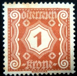 Selo postal da Áustria de 1922 Digit in octogon 1