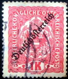 Selo postal da Áustria de 1918 Coat of arms 1K