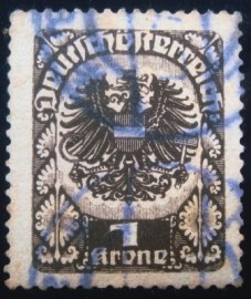 Selo postal da Áustria de 1920 Coat of Arms 1kr