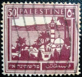 Selo postal da Palestina de 1927 Tiberias and the Sea of Galilea 50