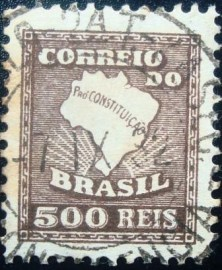 Selo Postal do Brasiil de 1932 Mapa 500rs