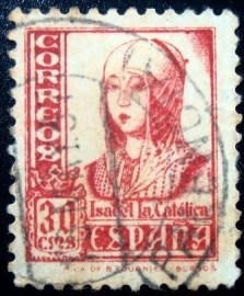 Selo postal da Espanha de 1937 Isabel the Catholic