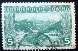 Selo postal da Áustria de 1906 Neretva with the mountain Prenj