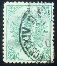 selo postal da Áustria de 1900 Coat of Arms with Numbers 5