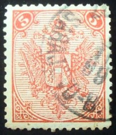 Selo postal da Aústria de 1894 Coat of Arms with number
