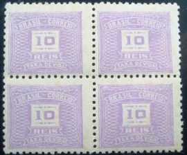 Quadra de selos do Brasil de 1942 Cifra Horizontal 10