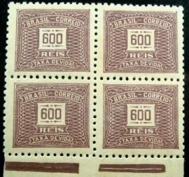 Quadra de selos postais do Brasil de 1942 Cifra Horizontal 600