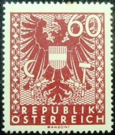Selo postal da Áustria de 1945 New National Arms 60