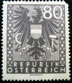 Selo postal da Áustria de 1945 New National Arms 80
