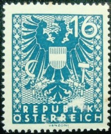 Selo postal da Áustria de 1945 New National Arms 16