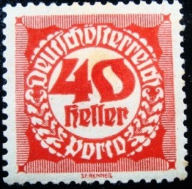 Selo postal da Áustria de 1920 Digit in circle 40