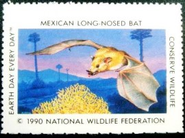 Selo National Wildlife Federation de 1990 Mexican Long-Nosed Bat