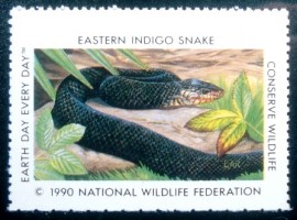 Selo National Wildlife Federation de 1990 Eastern Indigo Snake